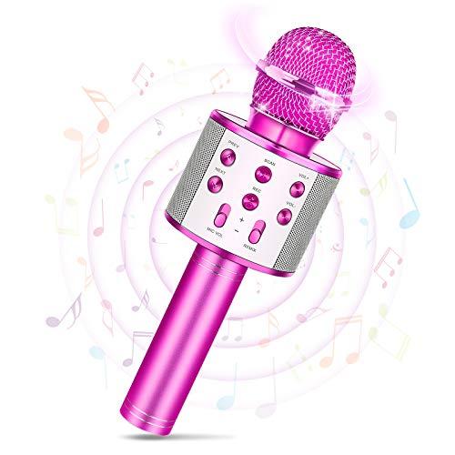 Tesoyzii Idee Regalo Bambina 7 4 5 6 7 8 9 10 11 12 Anni, Microfono Karaoke Bambini Regalo 4-14 Anni Giocattoli Bambino 3 4 5 6 7 8 9 10 Anni Microfono Bluetooth Giochi Bambina 3-9 Anni