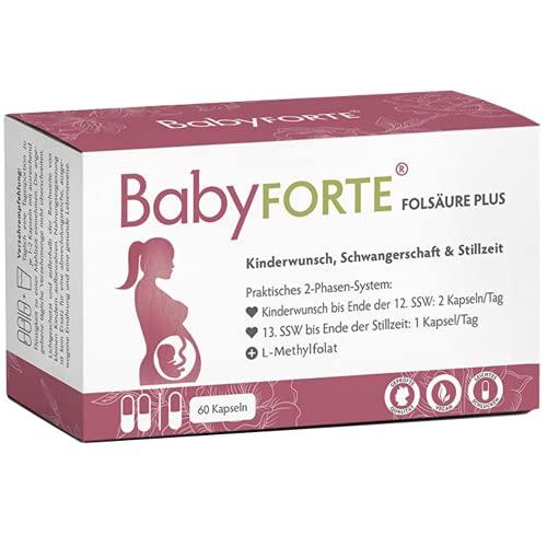 BABYFORTE® Folsäure Plus Quatrefolic® - 13 Kinderwunsch & Schwangerschaft Vitamine - 100% vegan - 60 Kapseln - Magnesium, Jod, Vitamin B6 & B12