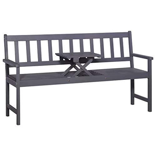vidaXL Akazie Gartenbank mit Tisch 3er Grau 158cm Holzbank Sitzbank Parkbank