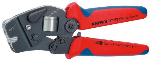 KNIPEX 97 53 09 Selbsteinstellende Crimpzange für Aderendhülsen mit Fronteinführung brüniert mit Mehrkomponenten-Hüllen 190 mm