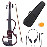 Cecilio CEVN-2NA Style 2 Silent Electric Solid Wood Violin with Ebony Fittings in Metallic Red Mahogany, Size 3/4