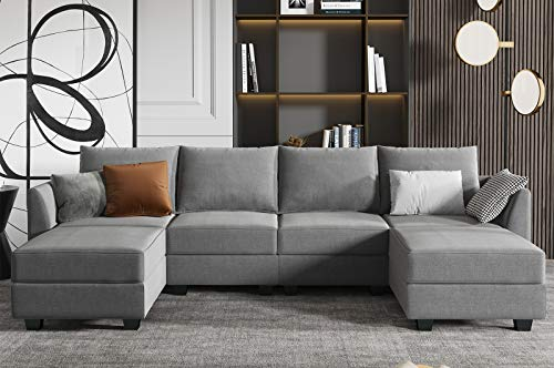 HONBAY Convertible Modular Sectional Sofa U Shaped Couch with Reversible Chaise Modular Couch Sectional Sofa with Ottomans, Grey