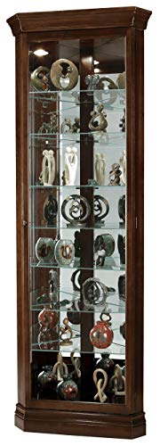 Howard Miller Drake Corner Curio Cabinet 680-483 – Cherry Bordeaux Finish, Seven Glass Shelves, Eight Level...
