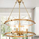 Gold Chandelier, 4-Light Drum Chandelier Lighting, Dining Room Lighting Fixtures Hanging with Seeded Glass Shade, Chandeliers for Dining Rooms, Living Room, Entryway, Foyer, 16.5' D x 22' H