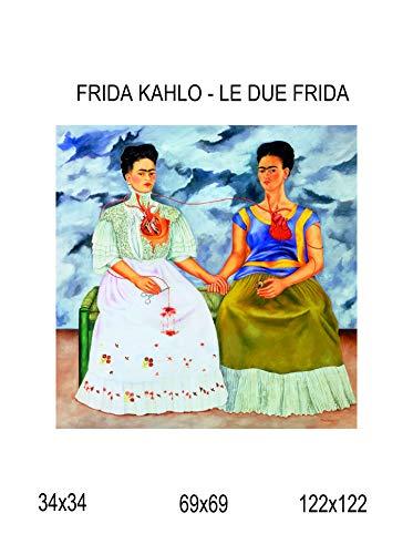 Impresión de lienzo Canvas 100% fabricado en Italia-Frida Kahlo-Le due Frida efecto pintado Idea regalo casa marco cocina sala de salón Home
