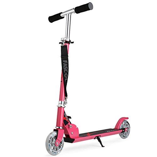 Fascol Klappbar Kinder Scooter Tretroller Cityroller für Kinder 3-13 Jahre Belastbarkeit bis 50 kg, Leuchträder und höhenverstellbarer (Rosa)