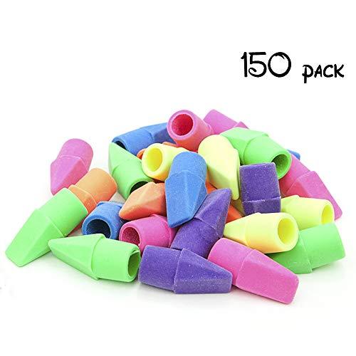 Tapas de goma de borrar con forma de cincel, varios colores, 150 unidades