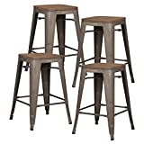 EdgeMod Trattoria 24' Counter Height Industrial Bar Stool with Elmwood Seat, Stackable, Bronze (Set of 4)