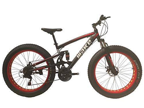 Amardeep cycles Make Fat Mountain Sports Bike with 26X4 Inch Tyres and 21 Speed Shimano Gears, Dual Hydraulic Suspension and Dual Disc Brakes for Adults (Black-Red)