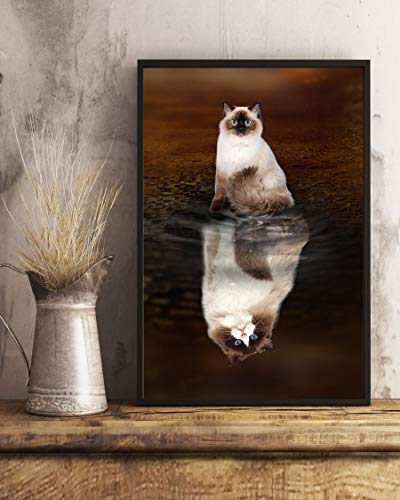 Ragdoll Cat Reflection Poster 1512 w - Motivational Poster - Wall Art & Wall Decor & Painting for College Dorm – Office Decor - Makeup Room Decor - Dorm Room Poster