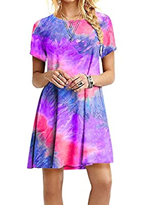 Material: Cotton + Polyester blend. The fabric is nicely lightweight and breathable, very soft and comfortable to the skin. It also has a great elastic which can shape your body more fitted and flattering. Feature: Round Neck, Short Sleeve, Swing Hem...