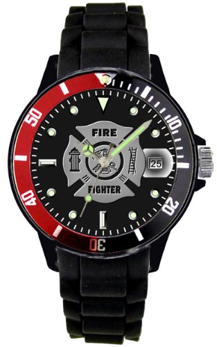 Aqua Force Red/Black Rotating Bezel Firefighter Plastic Case with Date/Silicone Strap