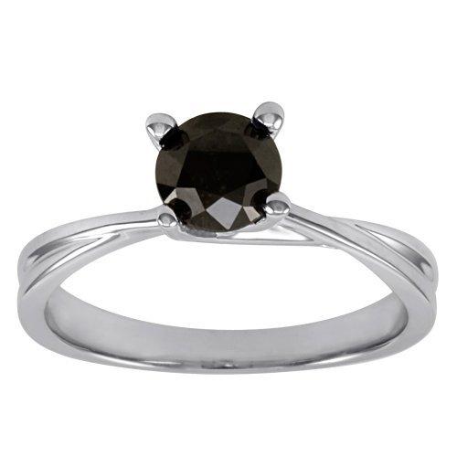 Hermosa 0,75 Carat Diamante Negro cuatro ajuste del diente de solitario anillo de compromiso en 9 K oro blanco