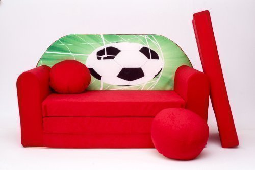 ProCosmo D3, divano letto futon con pouf/poggiapiedi/cuscino, in tessuto, per bambini, 168x 98x 60cm, rosso