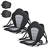 Solomone Cavalli Deluxe Padded Kayak Seat with Storage Bag, Adjustable Cushions for Canoe Fishing Boat Paddle Board Sit-On-Top Kayaks, Universal Size with Back Support, 2 Pack
