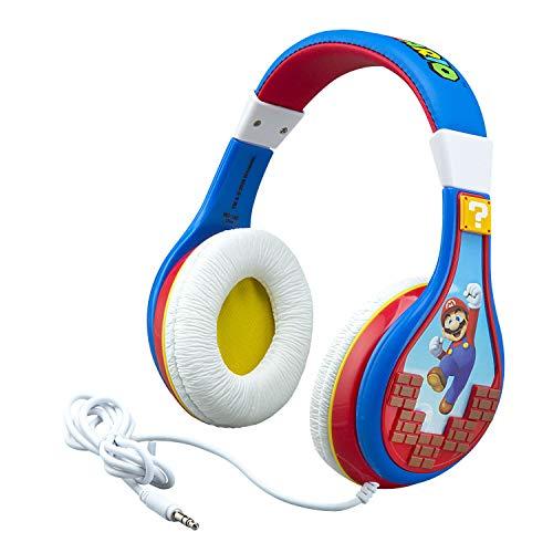 eKids Super Mario Kids Headphones, Adjustable Headband, Stereo Sound, 3.5Mm Jack, Wired Headphones for Kids, Tangle-Free, Volume Control, Childrens Headphones Over Ear for School Home, Travel