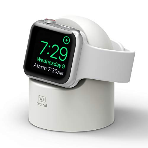 elago W2 Charger Stand Compatible with Apple Watch Series 7 (2021), 6, SE (2020), 5, 4, 3, 2, 1 / 44mm, 42mm, 40mm, 38mm / Nightstand Mode, Charging Station (White)