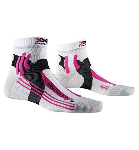 X-Socks Marathon Women Socks, Calzini da Corsa Donna, Arctic White/Pearl Grey, 37-38