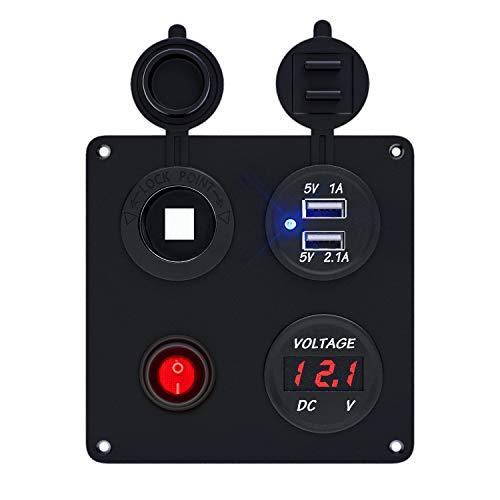 TurnRaise Dual USB Caricatore in Alluminio Switch Panel + LED Voltmetro + Presa 12V + Tasto ON-OFF Interruttore Quattro Foro Pannello per Auto Barca Camion Marino Moto GPS Cellulare (Nero-rosso)