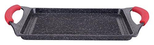 Euronovit EN-22141 Padella, Griglia, bistecchiera pietra nera 46 cm stone vulcanica rivestimento in pietra,fondo induzione