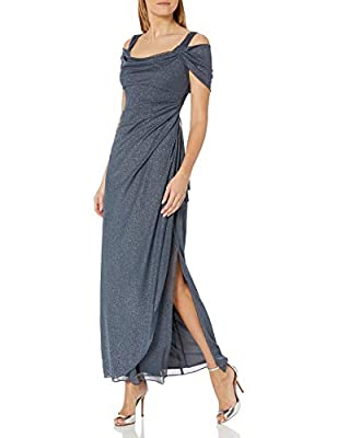Sparkling glitter-mesh gown featuring twisted cold-shoulder openings and draped side bodice Concealed back zipper This style is available in Regular, Plus Size and Petite on Amazon.com