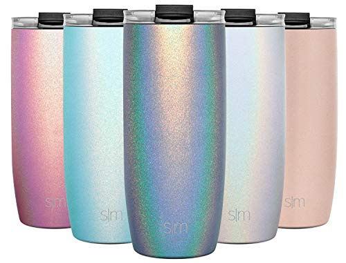 Simple Modern 20oz Voyager Travel Mug Tumbler w/Clear Flip Lid & Straw - Coffee Cup Vacuum Insulated Flask 18/8 Stainless Steel Hydro Water Bottle Shimmer: Blue Moonstone