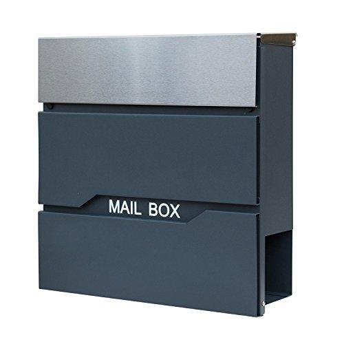 HENGMEI Design Briefkasten mit Zeitungsrolle Postkasten Wandbriefkasten Mailbox Groß Zeitungsfach Edelstahl pulverbeschichtet, Anthrazit/Silber (F Modell)
