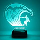 Sports Night Light, Personalized Free, Bedside Lamp with 16 Colors and Remote Control - Great Sports Birthday Gifts for Girls or Boys (Surfing)
