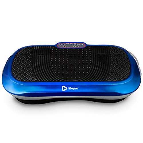 LifePro Vibration Plate Exercise Machine - Whole Body Workout Vibration Fitness Platform w/Loop Bands - Home Training Equipment for Weight Loss & Toning (Blue)