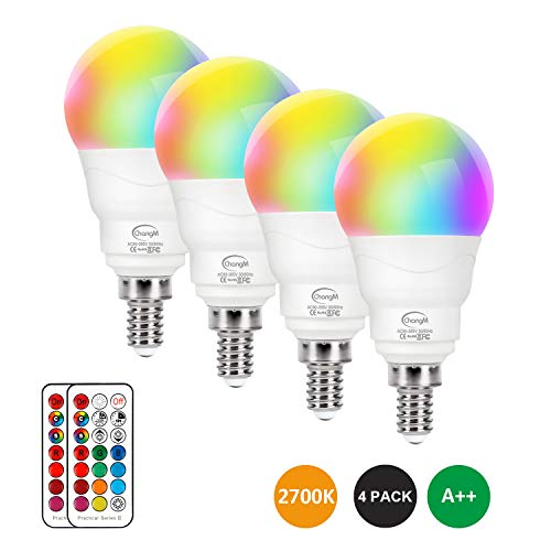 E12 LED Light Bulbs 5W, 40W Equivalent, Small Base Round Candelabra Light Bulbs, Set of 4 LED Color Changing Light Bulbs, Dimmable Color LED Bulb with Remote Control RGB Warm White 2700K