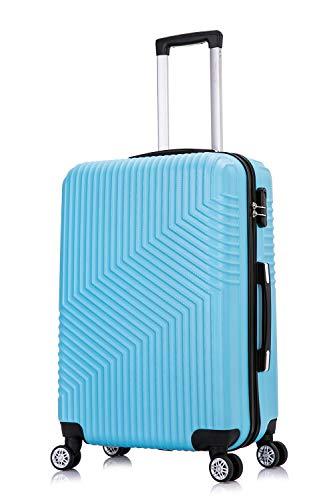 Frentree Hartschalen-Koffer 02 | Trolley Reisekoffer Handgepäck mit 4 Rollen M-L-XL-Set zum Auswahl, Koffer Standard Farbe:Cyanblau(Sky Blue), Koffer Standard Größe:L(66CM)