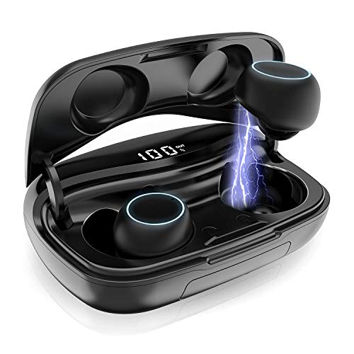 Bluetooth Kopfhörer Kabellos,iPosible Drahtlose Ohrhörer In Ear CVC 8.0 Noise Cancelling Bluetooth 5.0 Sport Kopfhörer IP65 Wasserdicht, LCD Digitalanzeige, 3500mAh Ladebox Mikrofon für iPhone Android