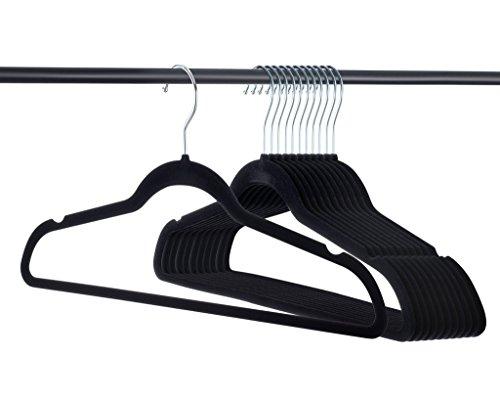 Home-it Premium Velvet Hangers Heavy Duty Clothes Hook Swivel 360-Ultra Thin, (50 Pack)