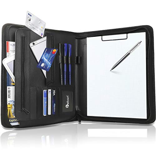 """Vebon® Schreibmappe A4 groß\""""New York\""""   Veganes Leder, Reißverschluss + Klemmbrett   Dokumentenmappe + Laptoptasche   extra Stauraum   Schwarz"""