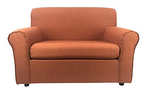 Divano 2 posti Mini Pratico Imbottito Rivestimento in Tessuto 125 cm (Arancione)