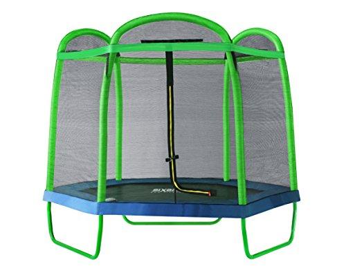 SixBros. SixJump Gartentrampolin für Kinder, Outdoor-Trampolin für den Garten, Kindertrampolin inkl. Sicherheitsnetz & Stangenschutz, robust & wasserdicht, grün TG210/2026
