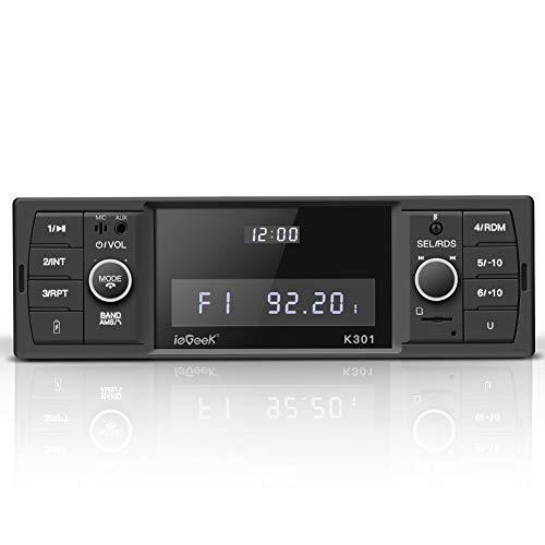ieGeek Autoradio Bluetooth, Stereo RDS Autoradio, 60W x 4 Funzione MP3 / FM/AM/SD/AUX/USB con Pulsanti di Volume Rotanti Doppio Controllo e Displey del Orologio Indipendente