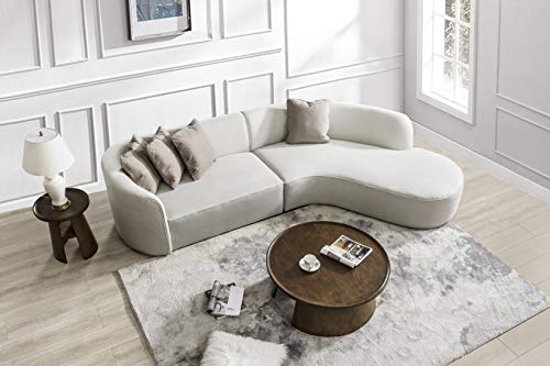 Acanva Luxury Contemporary Leathaire Arc Curved Sofa Set 2-Piece Living Room Couch with Chaise, Right Hand Facing Sectional, Cream