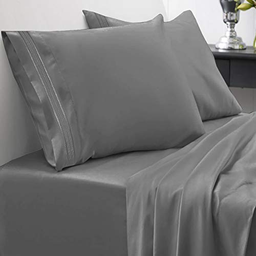 1800 Thread Count Sheet Set  Soft Egyptian Quality Brushed Microfiber Hypoallergenic Sheets  Luxury Bedding Set with Flat Sheet, Fitted Sheet, 2 Pillow Cases, Queen, Gray