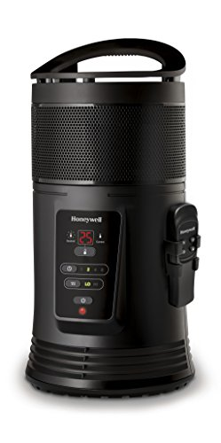 Honeywell HZ445E Chauffage céramique 360° surround avec télécommande/thermostat intelligent, 1800 W, Noir