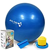 KLAS REMO Pelota de Ejercicio Anti-explosión, Balón de Ejercicio 55cm Pelota de Pilates para Yoga, Equilibrio, Fitness, Embarazo,Entrenamiento con Bomba de Aire Bandas Elasticas Fitness- Azul