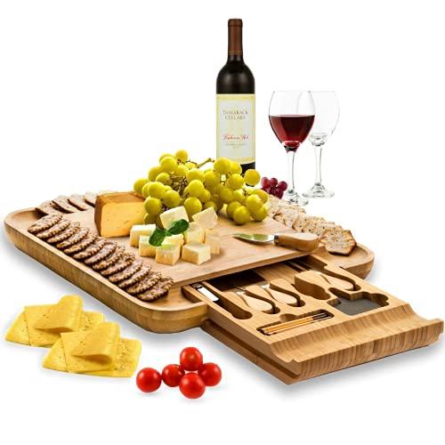 Premium Bamboo Cheese Board Set - Wooden Charcuterie Board...