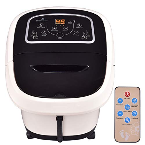 All-in-One Foot Spa Bath Massager, Multifunctional Electric Foot Massager W/4 Vibratory Massage Rollers &Remote Control, Heating Surfing Air Bubble for Foot, Ankle, Leg, Calf, Black + White