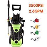 Homdox 3500 PSI Power Washer High Pressure Washer 2.6 GPM 1800W Electric Pressure Washer Professional with Hose Reel and 4 Nozzles
