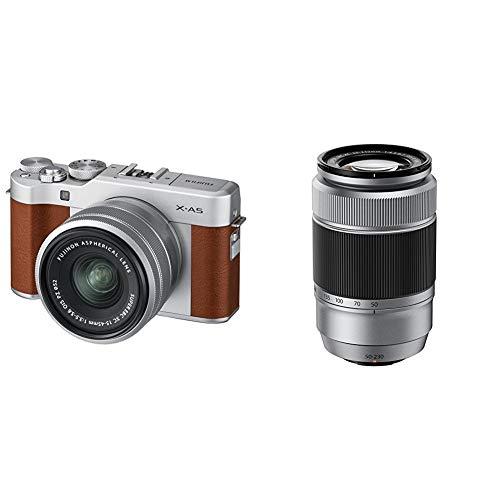 Fujifilm X-A5 Kit con ottiche Fujinon XC15-45mm + XC50-230mm, marrone