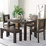 Tiny Space 4 Seater Sheesham Wood Dining Table Set with Chairs with Bench for Dining Room (Walnut Finish)