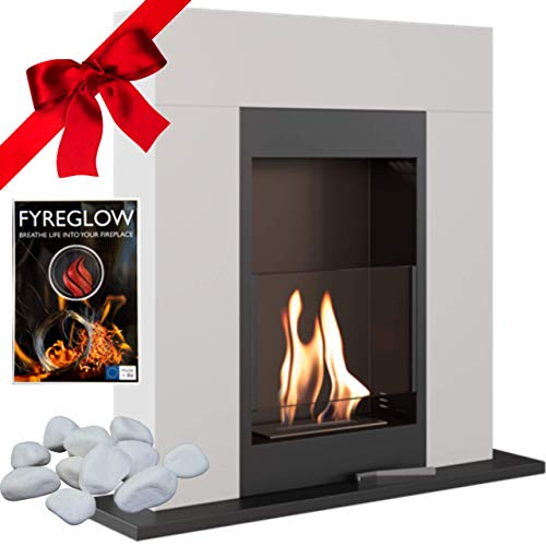 Whiskey 1 Bio Ethanol Fireplace, Freestanding, Indoor, White, TÜV Certified, Gift Pack with Fyreglow and Decorative Stones