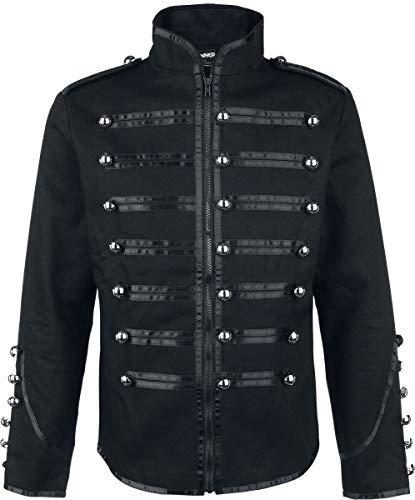 Banned Military Drummer Men Uniform Jacket Black M, 100% Cotton, Ziernähte Regular