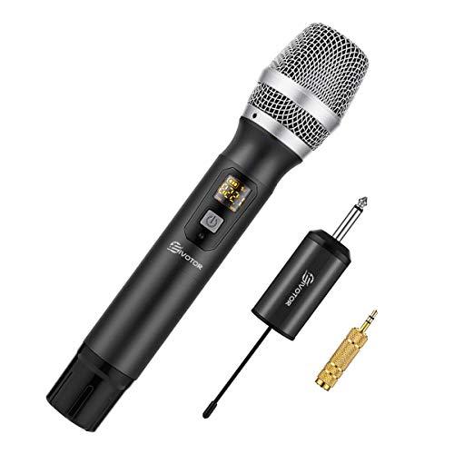 EIVOTOR Kabelloses Mikrofon UHF Funkmikrofon mit Empfänger Wireless Microphone Karaoke Drahtloses Tragbares Handmikrofon Dynamisches Mikrofon bis zu 50m Weihnachten Geschenk für Konferenz Schule PC