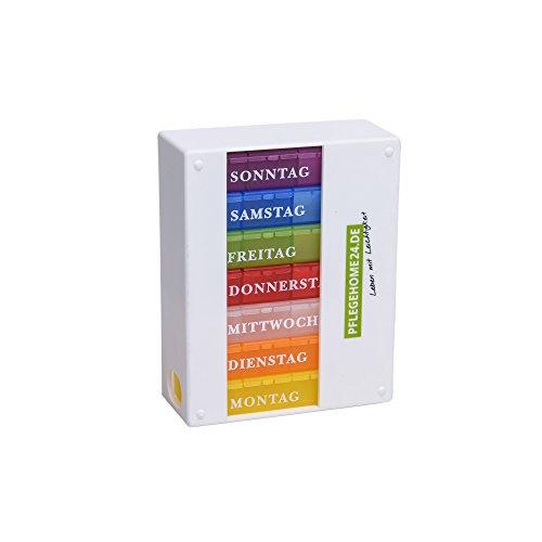 Pflegehome24® Wochen Medikamentendispenser Medikamentendosierer 7 Tage,weiß 4-Fach Tablettenbox